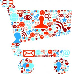 Social media icons set in shopping cart shape